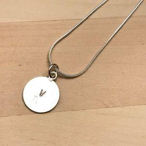 Sterling Silver Letter V Circle Pendant